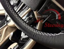 BLACK LEATHER STEERING WHEEL COVER FOR PEUGOT 307 01-08 WITH WHITE DOUBLE STITC