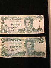 Bahamas Paper Money Lot 2 Different Vintage $1 notes