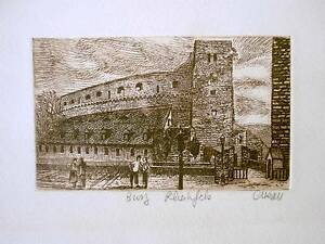 Vintage Busy Rheinfels Castle Germany Alleau Signed Art Print Card Rhine River