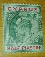 Cyprus:1903 King Edward VII HALF PIASTRE Rare & Collectible stamp.