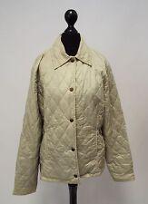 Ladies BARBOUR Beige Quilted Flyweight Sport Quilt Button Front Jacket UK 12