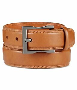 Kenneth Cole Mens Faux Leather Belt, Brown, 42