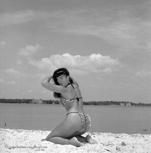 Bettie Page Original 1954 Camera Negative Bunny Yeager Estate Vamping In Bikini