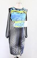 NWT Frank Lyman Design Black Abstract Print Mesh Cape Accent Dress Artsy 10 Blue