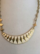 $59  LUCKY BRAND GEOMETRIC CRESCENT COLLAR ENAMEL NECKLACE GOLD TONE #195(6)