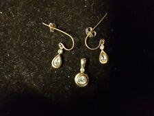 Blue Topaz Pendant and teardrop earrings, 9kt Gold