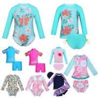 Baby Girls Kids Flower Swimsuit Rash Guard UV Protective Beach Swimwear Sunsuit