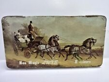 Vintage Neo Magic LUXE Metal Tin Child's Paint Box Stage Coach Horses JAPAN