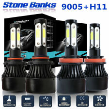 9005 H11 64000LM Combo 4-Side LED Headlight Kits High Low Beam Bulb 6000K White