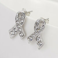 Cancer Awarness Silver Ribbon Rhinestones Shiny Bow Know Stud Earrings E1120
