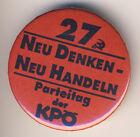 """Abzeichen (Button) der KPÖ """"27. Parteitag"""" 1990"""