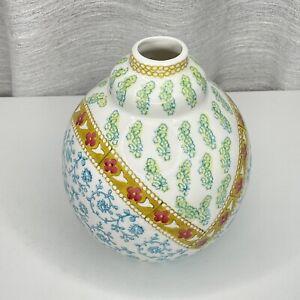 Anthropologie Boho Vase Bohemian Flower Floral Ceramic Handpainted