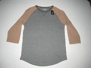 Express Men's Gray Brown 3/4 Sleeve Baseball Shirt Size S NWT