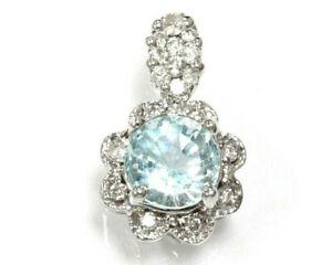1.5 ct tw Natural Aquamarine & Diamond Solid 14k White Gold Flower Drop Pendant