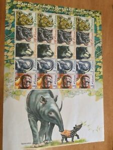 MALAYSIA PROTECTED ANIMALS MNH SHEET OF 20 SCOTT #697a RHINO,ELEPHANT,PANTHER
