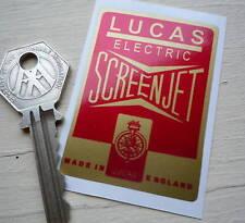 LUCAS Electric SCREENJET Red & Gold Classic Car Sticker 61x43mm Jaguar Triumph