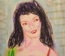 Vintage pastel painting fauvist woman portrait