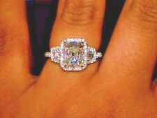 3.20 Ct. Cushion Cut Three Stone w/ Trapezoid cut Diamond Engagement Ring EGL