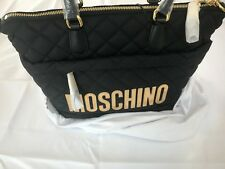 AW16 Moschino Couture X Jeremy Scott Quilted Black Shopper wgold Logo Bag Medium