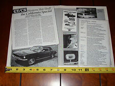 1967 1968 FORD MUSTANG GT/CS CALIFORNIA SPECIAL - ORIGINAL 1990 ARTICLE