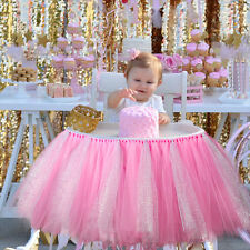 Birthday Princess Pink Tutu Tulle High Chair Skirt Wrap Baby Shower Party Decor