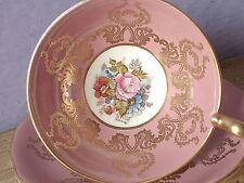 Vintage Mid Century Aynsley JA Bailey pink gold rose bone china tea cup teacup