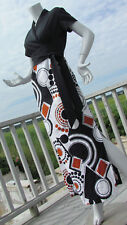 VTG S 1970s hostess gown maxi long dress groovy psychedelic barkcloth op art 70s