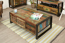 Urban Chic Furniture Reclaimed Wood Large Coffee Table With Drawers Steel Frame