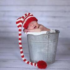 Newborn Baby Boy Girl Long Striped Pom Pom Crochet Costume Hat Photography Props