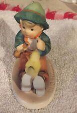 "GoeBel Hummel  63 Singing Lesson Germany Figurine 3"" Boy with Bird TMK 6"