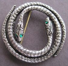 Two Headed Silver Snake Pin - Reptile Brooch - Jewelry - Very Cool Green Eyes