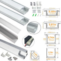 5Pack1M Aluminum Anodized Profile Channel w/Milky Covers Kit for LED Strip