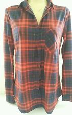 NWT JUNIORS LADIES SZ Small HIPSTA PLEASE PLAID TOP RED BLUE LONG SLEEVE NEW