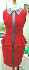 Red Grey Sequin Collar Stretch Fabric Peplum Dress BNWT's 8.10,12,14