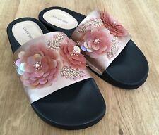Gianni Bini Women's Satin Flower Embellished Slides Size 11
