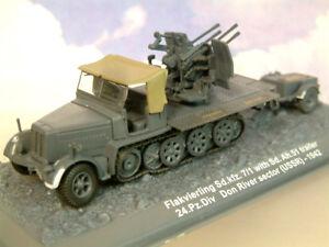 GREAT 1/72 GERMAN FLAKVIERLING SD.KFZ 7/1 HALF TRACK & TRAILER 24 PZ.DIV. 1942