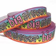"Grosgrain Ribbon 7/8"" Big Sister Rainbow Colors Printed 1, 3, 5 Yards Usa Seller"