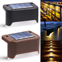 1-12pcs Solar Powered LED Deck Stairs Outdoor Garden Wall Fence Yard Lamp Lights