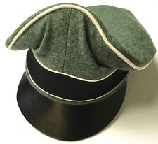 "WWII GERMAN WAFFEN EM NCO M1938 LEATHER VISOR ""CRUSHER"" CAP-SMALL"