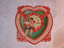 Victorian Valentine Card Embossed With Heart And Cupid Antique T*