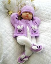 "BABY DOLLS KNITTING PATTERN RABBIT CARDIGAN SET FOR 17""- 22"" DOLL 0-3 MONTH BABY"