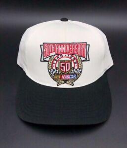 Vintage 50th Anniversary NASCAR 1948-1998 Adjustable Racing Hat New White Black