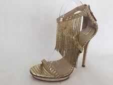 Brian Atwood Cassiane Metal Fringe Ankle Strap Platform Gold Pump Size 9 M