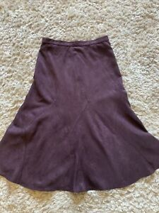 Marks And Spencers Faux Suede Look Purple Maxi Long Skirt  Size 14