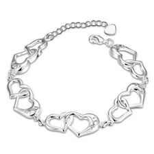"""925White Gold Plated Jewelry Hollow Star Heart Woman Bracelet Chain 8"""" HB448"""