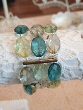 Fashion Jewellery Bracelet  elastic type three layers green/blue beads