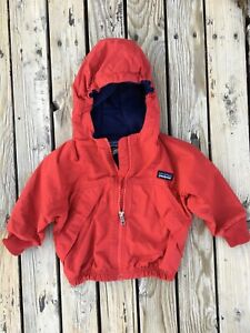 Patagonia Red Blue Fleece Lined Hooded Coat Jacket Size 12M Baby Toddler Vinta