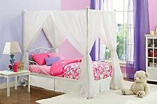 Princess Bed Frame Canopy Furniture Metal Girls Bedroom Kids Twin Size White New