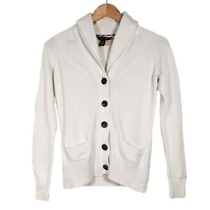 Vintage TOMMY HILFIGER White Collared Button Up Cardigan - Womens XS