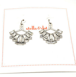 Stella & Dot Clear Crystal Fan Earrings